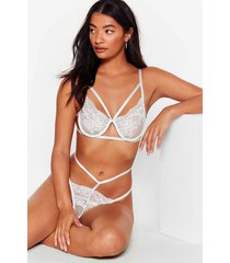 womens let's lace some time strappy bralette and thong set - white