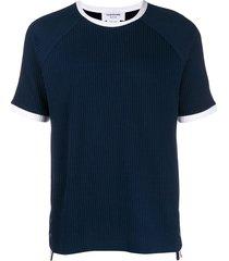 thom browne seersucker knit ringer t-shirt - blue