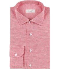 camicia da uomo su misura, canclini, rossa pied de poule cotone lino zephyr, primavera estate   lanieri