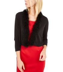 calvin klein feather-trim shrug