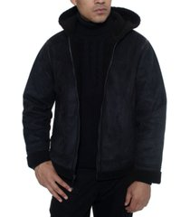 sean john men's faux shearling hooded bomber jacket