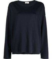 barena long-sleeved slouchy jersey top - blue