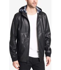 levi's men's faux-leather perforated hooded jacket