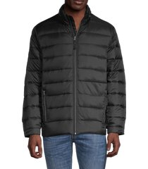 saks fifth avenue men's quilted down puffer jacket - charcoal camo - size m
