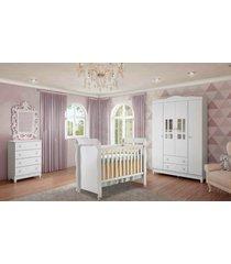 dormitã³rio guarda roupa ariel 4 portas/cã´moda 4 gavetas e berã§o mirelle branco carolina baby - branco - dafiti