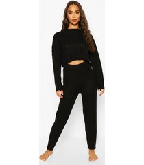 cable knit cropped sweater and jogger lounge set