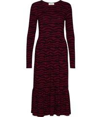 sitter print dress jurk knielengte rood modström