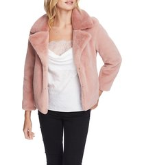 women's 1.state faux mink wide collar jacket, size large - pink