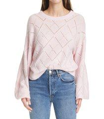 women's autumn cashmere pointelle balloon sleeve cashmere sweater, size medium - pink