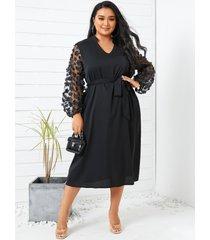 talla grande patchwork de malla escote en v cinturón diseño midi de manga larga vestido