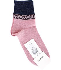 gucci pink and blue lamé socks