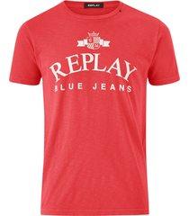 t-shirt med tryckt logo fram