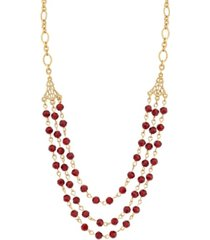 2028 14k gold dipped beaded necklace