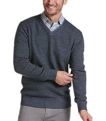 joseph abboud blue modern fit v-neck sweater