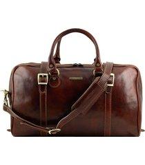 tuscany leather tl1014 berlino - borsa da viaggio in pelle con fibbie - misura piccola marrone