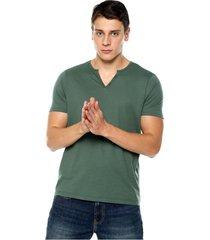 camiseta con botones de hombre-verde petróleo polovers