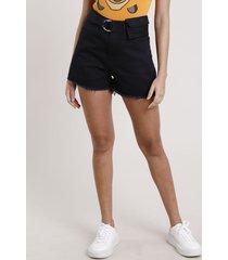 short de sarja feminino carnaval mom cintura super alta com cinto pochete preto