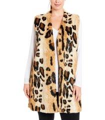 joseph a plus size leopard faux-fur sweater vest