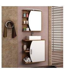 gabinete para banheiro com cuba e espelheira 60cm bosi duna nogal/branco