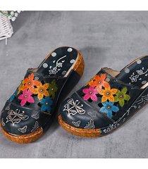 socofy originali retro sandali in pelle con plateau stampato a farfalla e fiori