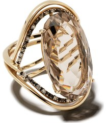 brumani 18kt yellow gold, diamond and smoked quartz ring