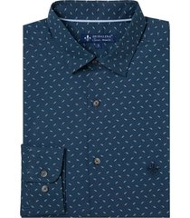 camisa dudalina manga longa tricoline estampa folhas masculina (estampado, 6)