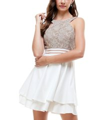 city studios juniors' glitter lace fit & flare dress
