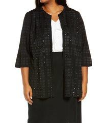 plus size women's ming wang stud open front jacket, size 1x - black