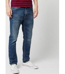 nudie jeans men's lean dean straight jeans - indigo shades - w36/l34 - blue