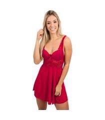 camisola com bojo 4 estações renda lingerie noite vermelho