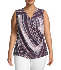 nic+zoe women's plus elegant edit printed sleeveless top - size 2x (18-20)