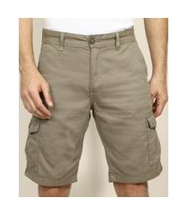 bermuda de sarja masculina cargo com bolsos kaki