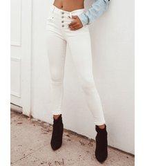 bolsillos laterales blancos botón delantero de cintura alta jeans