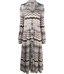 missoni belted crochet-knit shirt dress - brown