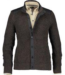 state of art vest bruin met knoop- en ritssluiting