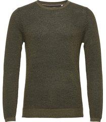 sweater mini stickad tröja m. rund krage grön tom tailor