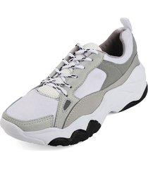 tenis blanco por gris blanco perla 5002