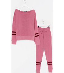 womens our stripe of day knitted sweater and joggers set - pink