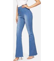 cremallera azul de pierna ancha diseño jeans