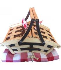 canasta  picnic mediana trenzada en madera ecologica tipo cafetero