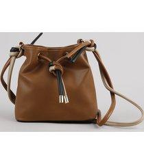 bolsa feminina bucket média com nó alça transversal caramelo