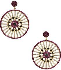 22k gold vermeil & cubic zirconia be loved medallion drop earrings