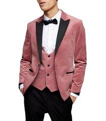 men's topman velvet skinny fit blazer