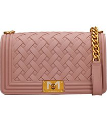 marc ellis flat m braid shoulder bag in powder pvc
