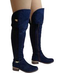 botas en microfibra extralargas para mujer outfit gold azul