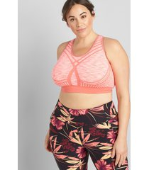 lane bryant women's livi medium-impact seamless wicking no-wire sport bra 10/12 space dye