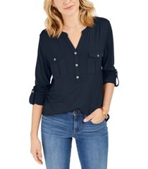 style & co petite roll-tab popover top, created for macy's