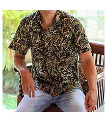 men's cotton batik short sleeve shirt, 'autumn night' (indonesia)