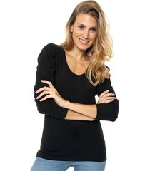 sweater negro destino collection frunce lanilla