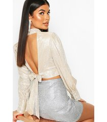 petite glitter metallic open back top, gold